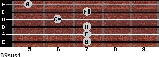 B9sus4 for guitar on frets 7, 7, 7, 6, 7, 5