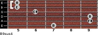 B9sus4 for guitar on frets 7, 9, 9, 6, 5, 5