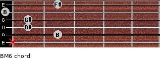 BM6 for guitar on frets x, 2, 1, 1, 0, 2
