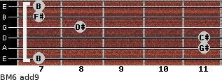 BM6(add9) for guitar on frets 7, 11, 11, 8, 7, 7
