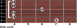 BM6(add9) for guitar on frets 7, 4, 4, 6, 4, 4