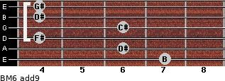 BM6(add9) for guitar on frets 7, 6, 4, 6, 4, 4