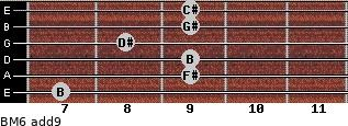 BM6(add9) for guitar on frets 7, 9, 9, 8, 9, 9