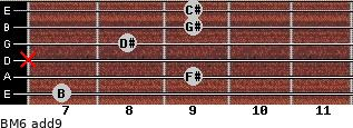 BM6(add9) for guitar on frets 7, 9, x, 8, 9, 9