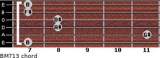 BM7/13 for guitar on frets 7, 11, 8, 8, 7, 7