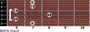 BM7/9 for guitar on frets 7, 6, 8, 6, 7, 7
