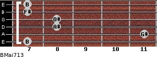 BMaj7/13 for guitar on frets 7, 11, 8, 8, 7, 7