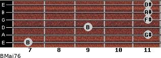 BMaj7/6 for guitar on frets 7, 11, 9, 11, 11, 11