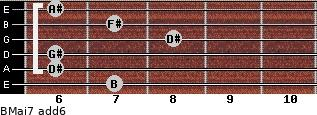 BMaj7(add6) for guitar on frets 7, 6, 6, 8, 7, 6