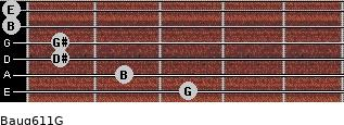 Baug6/11/G for guitar on frets 3, 2, 1, 1, 0, 0