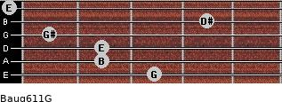 Baug6/11/G for guitar on frets 3, 2, 2, 1, 4, 0