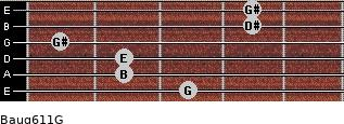 Baug6/11/G for guitar on frets 3, 2, 2, 1, 4, 4