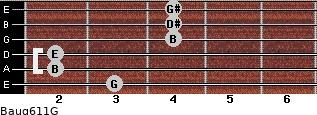 Baug6/11/G for guitar on frets 3, 2, 2, 4, 4, 4