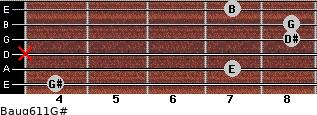 Baug6/11/G# for guitar on frets 4, 7, x, 8, 8, 7