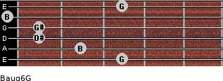 Baug6/G for guitar on frets 3, 2, 1, 1, 0, 3