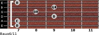 Baug6/11 for guitar on frets 7, 7, 9, 8, 9, 7