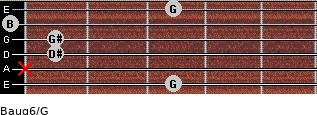 Baug6/G for guitar on frets 3, x, 1, 1, 0, 3