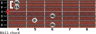 Bb11 for guitar on frets 6, 5, 6, x, 4, 4