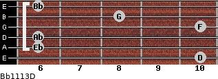 Bb11/13/D for guitar on frets 10, 6, 6, 10, 8, 6