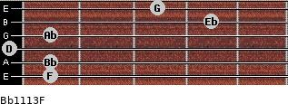 Bb11/13/F for guitar on frets 1, 1, 0, 1, 4, 3