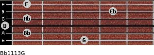 Bb11/13/G for guitar on frets 3, 1, 0, 1, 4, 1