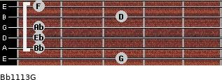 Bb11/13/G for guitar on frets 3, 1, 1, 1, 3, 1