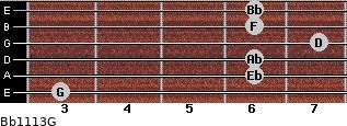 Bb11/13/G for guitar on frets 3, 6, 6, 7, 6, 6