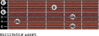 Bb11/13b5/G# add(#5) for guitar on frets 4, 1, 4, 0, 3, 0