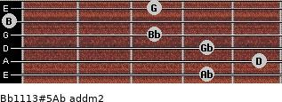 Bb11/13#5/Ab add(m2) for guitar on frets 4, 5, 4, 3, 0, 3