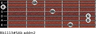 Bb11/13#5/Ab add(m2) for guitar on frets 4, 5, 5, 3, 0, 2