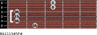 Bb11/13#5/F# for guitar on frets 2, 1, 1, 1, 3, 3