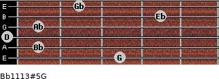 Bb11/13#5/G for guitar on frets 3, 1, 0, 1, 4, 2