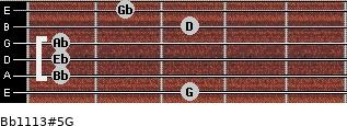 Bb11/13#5/G for guitar on frets 3, 1, 1, 1, 3, 2