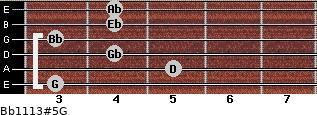 Bb11/13#5/G for guitar on frets 3, 5, 4, 3, 4, 4