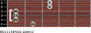 Bb11/13#5/Gb add(m2) guitar chord