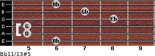 Bb11/13#5 for guitar on frets 6, 5, 5, 8, 7, 6
