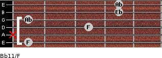 Bb11/F for guitar on frets 1, x, 3, 1, 4, 4