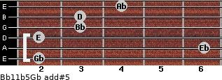 Bb11b5/Gb add(#5) for guitar on frets 2, 6, 2, 3, 3, 4