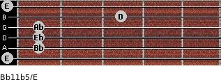Bb11b5/E for guitar on frets 0, 1, 1, 1, 3, 0
