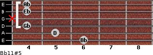 Bb11#5 for guitar on frets 6, 5, 4, x, 4, 4