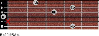 Bb11#5/Ab for guitar on frets 4, x, 0, 3, 4, 2