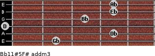 Bb11#5/F# add(m3) guitar chord