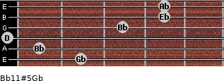 Bb11#5/Gb for guitar on frets 2, 1, 0, 3, 4, 4