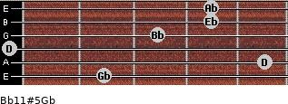 Bb11#5/Gb for guitar on frets 2, 5, 0, 3, 4, 4