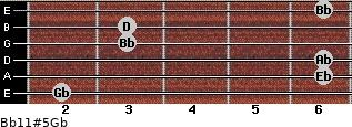 Bb11#5/Gb for guitar on frets 2, 6, 6, 3, 3, 6