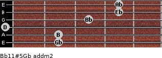 Bb11#5/Gb add(m2) for guitar on frets 2, 2, 0, 3, 4, 4