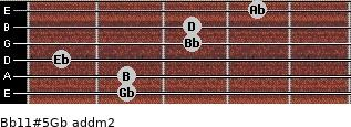 Bb11#5/Gb add(m2) for guitar on frets 2, 2, 1, 3, 3, 4