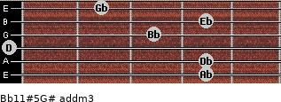 Bb11#5/G# add(m3) for guitar on frets 4, 4, 0, 3, 4, 2