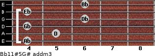 Bb11#5/G# add(m3) for guitar on frets 4, 5, 4, 6, 4, 6