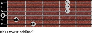Bb11#5/F# add(m2) guitar chord